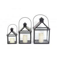 lantaarn set van 3 stuks Portici metaal zwart hoog 25, 34 en 42 cm