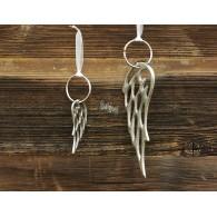 kerst hanger vleugel aluminium zilver kleur lang 14 cm