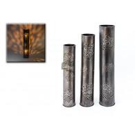 windlicht Aliya metaal zilver antiek set van 3 stuks