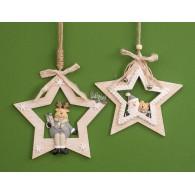 kerst hanger santa en rendier (15x15) 2 assortiment design hout lang 23 cm op=op