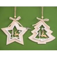 kerst hanger ster en dennenboom (15x15) 2 assortiment design hout lang 23 cm