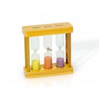 zandloper 3,4 en 5 minuten in houten raamwerk 3 assortiment kleur sp hoog 9 cm