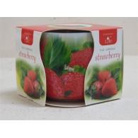 glas met geurkaars strawberry (aardbei)