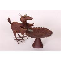 vogel drinkbak metaal hoog 26 cm en breed 39 cm op=op