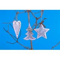 hanger metaal met hart,dennenboom en ster 3 assortiment design 13 cm lang op=op