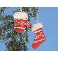 hanger sok en handschoen in box set van 9 stuks 2 assortiment design rood 20x8 cm op=op