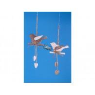 hanger vogel hout 2 assortiment kleur hoog 11 cm op=op