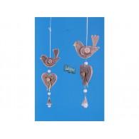 hanger vogel en hart hout 24 cm lang