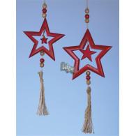 hanger hout ster hoog 58 cm rood op=op