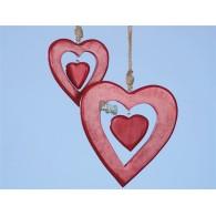 hanger hout hart in hart hoog 15 cm rood op=op