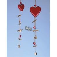 hanger hout hart en ster lang 62 cm rood
