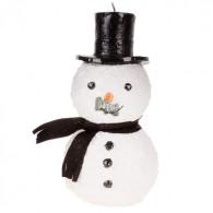 kaars model sneeuw pop met hoed wit 24 cm op=op