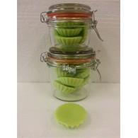 schijfjes van 100% koolzaadwas voor geurbrander 5 stuks in wekpot kiwi