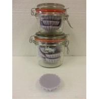 schijfjes van 100% koolzaadwas voor geurbrander 10 stuks in wekpot lavendel