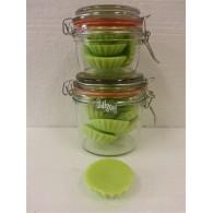 schijfjes van 100% koolzaadwas voor geurbrander 10 stuks in wekpot kiwi
