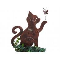 steker kat met vlinder hoog 50 cm