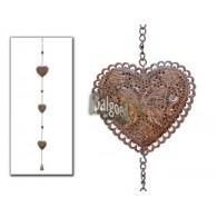 hanger 3x hart met klokje bruin lang 90 cm op=op
