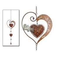 hanger hart met klokje bruin lang 26 cm
