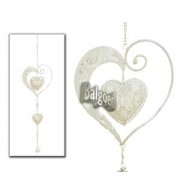 hanger hart in hart met klokje grijs lang 73 cm