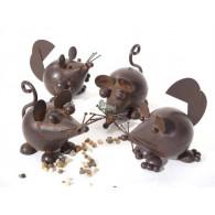 muis in metaal 4 assortiment