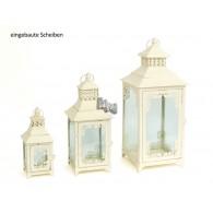 lantaarn set van 3 stuks Casoria antiek creme metaal 25,36 en 48 cm hoog