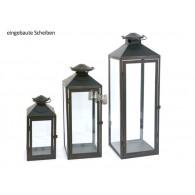 lantaarn set van 3 stuks Oria metaal antiek bruin