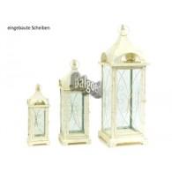lantaarn set van 3 stuks Ravello metaal hoog 36/58/70cm antiek wit