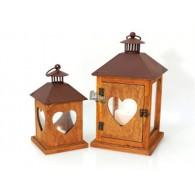 lantaarn Cuore hout en metaal 12x12x23 cm met hart op=op