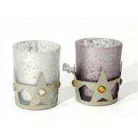 theelicht metaal en glas 2 assortiment design hoog 7 cm