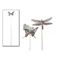 steker vlinder en libelle naturel metaal lang1.9 meter!!! op=op