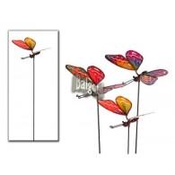 steker vlinder (7x16 cm) metaal 3 assortiment kleur lang 57 cm
