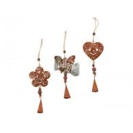 hanger hart/bloem/vlinder (7x8 cm) metaal 3 assortiment design lang 25 cm op=op