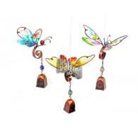 hanger vlinder met bel 3 assortiment design lang 31 cm aan spiraal