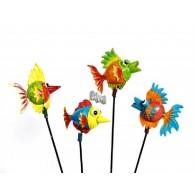 tuinsteker grappige dieren vis 4 assortiment design metaal lang 38 cm