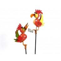 tuinsteker grappige dieren vogel 2 assortiment design metaal lang 38 cm op=op