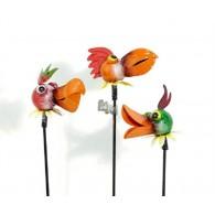 tuinsteker grappige dieren vogel 3 assortiment design metaal lang 35 cm op=op