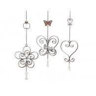 hanger bloemen/vlinder/hart 3 assortiment design lang 68-80 cm zilver op=op