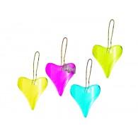 hanger hart van glas 4 assortiment kleur 10x5 cm op=op