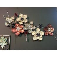muurdecoratie Flower metaal 49x125 cm