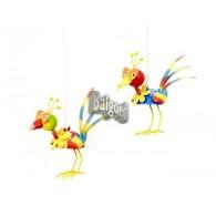 hanger vogel aan veer 2 assortiment design bont gekleurd op=op