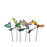 steker vlinder mariposa (7x9 cm) metaal  en glas 6 assortiment kleur lang 33 cm op=op