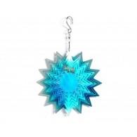 windspinner 3D ster zilver/blauw  metaal 15 cm op=op