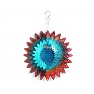 windspinner 3D ster rood/blauw metaal 20 cm