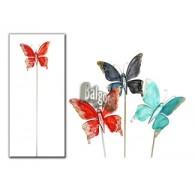 steker vlinder uni metaal 3 assortiment kleur lang 95 cm