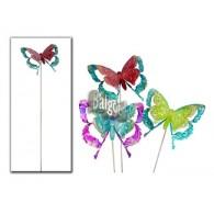 steker vlinder patroon metaal 3 assortiment kleur lang 95 cm