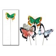 steker vlinder bont metaal 3 assortiment kleur lang 95 cm