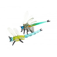 libelle van glas (6.5x11x4 en 3x9.5x10 cm) 2 assortiment design