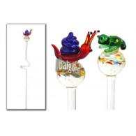 tuinsteker kikker en slak van glas (h3.5-5 cm) lang 43 cm 2 assortiment design