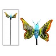 tuinsteker vlinder van glas (h3 b9 d8.5 cm) lang 29 cm