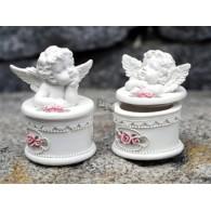 engel doos met deksel en rozen polystone 2 assortiment design